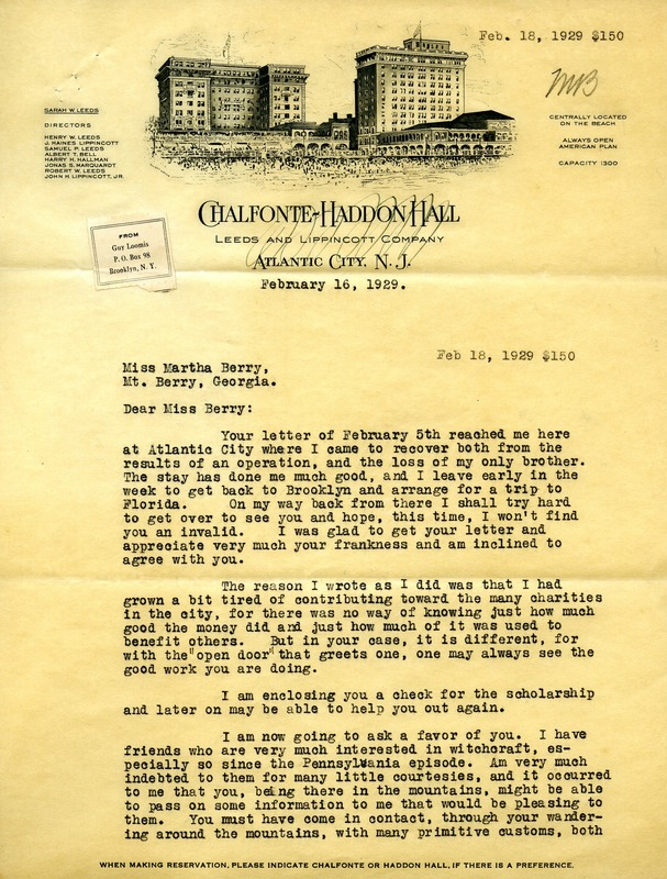 Letter to Martha Berry from Guy Loomis