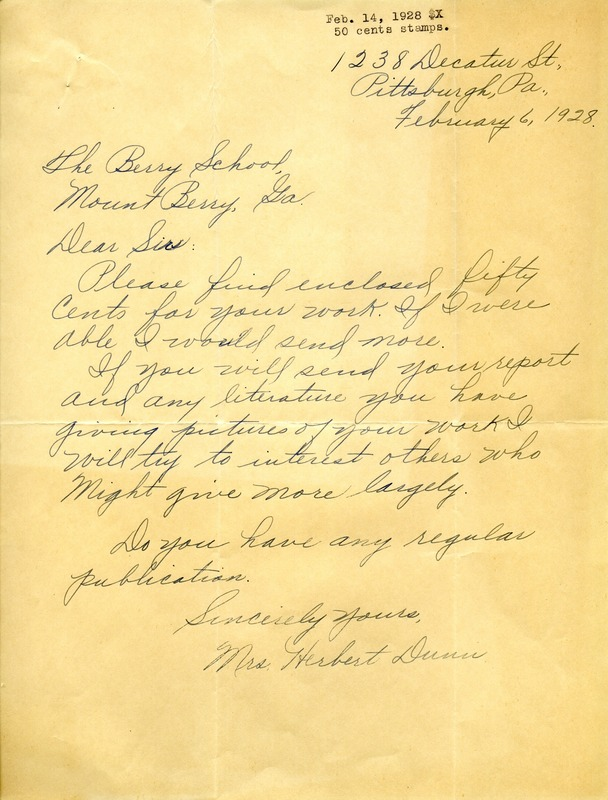 Letter to the Berry Schools from Mrs. Herbert Dunn