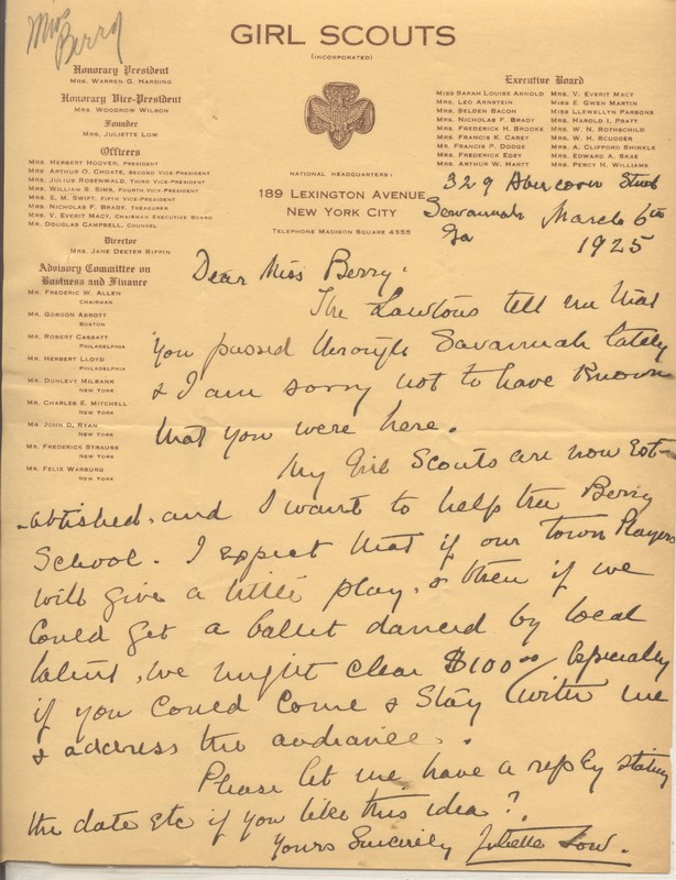 Letter from Juliette Gordon Low to Martha Berry