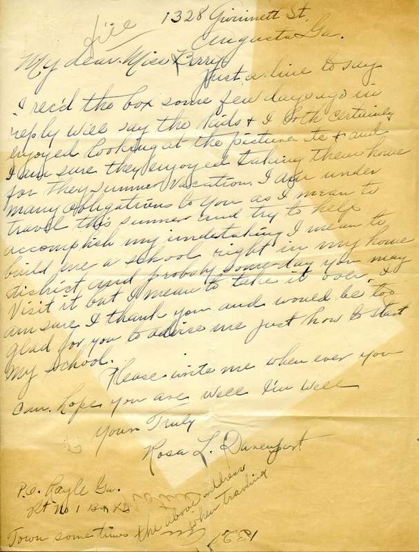 Letter to Martha Berry from Rosa L. Davenport