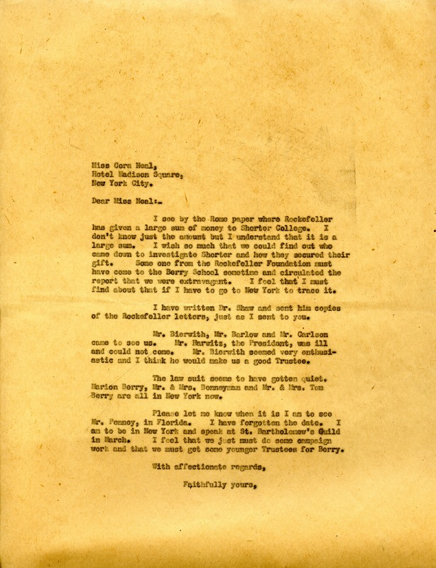 Letter to Cora Neal from Martha Berry