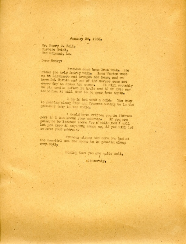 Letter to Henry Ball from Martha Berry
