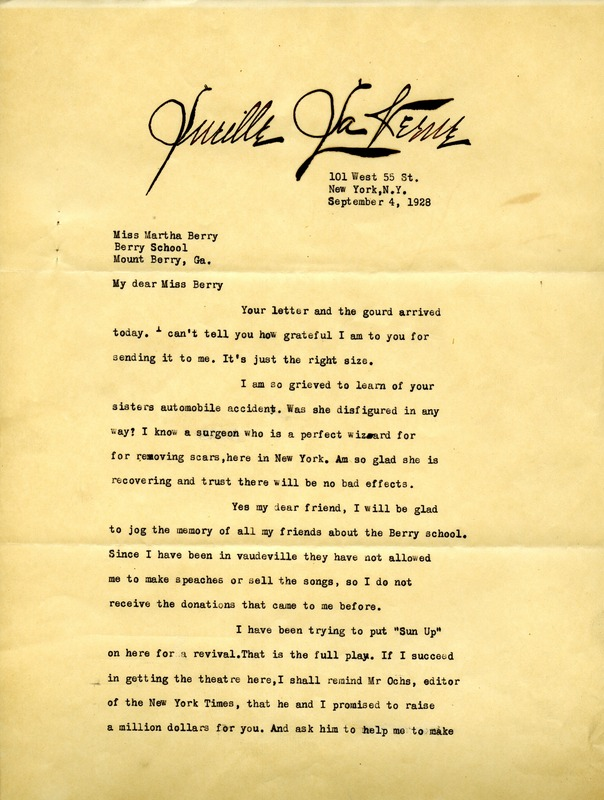 Letter to Martha Berry from Lucille La Verne