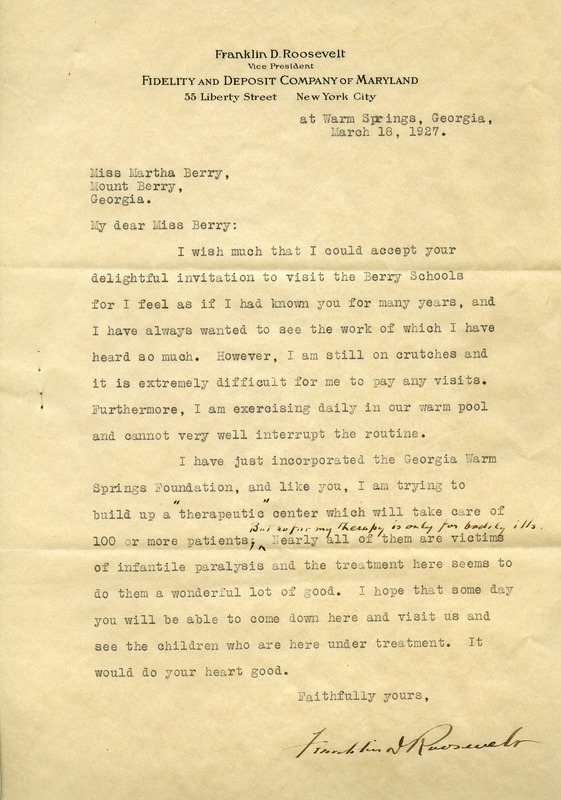 Letter to Martha Berry from Franklin D. Roosevelt
