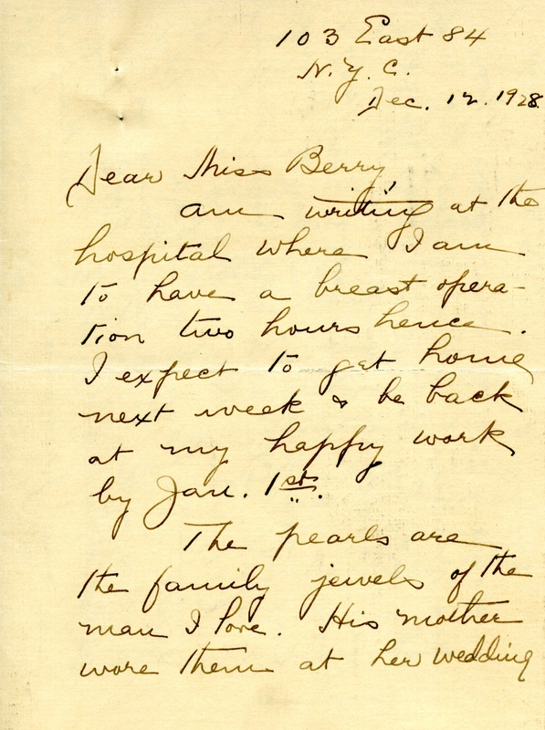 Letter to Martha Berry from Eva Peck