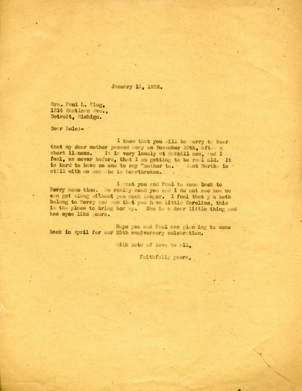 Letter to Mrs. Paul L. King from Martha Berry