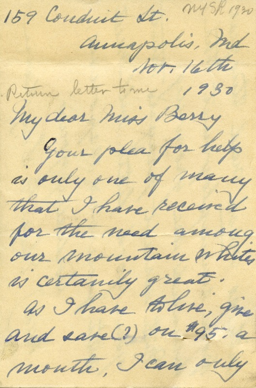 Letter to Martha Berry from Eliza G. Suydam