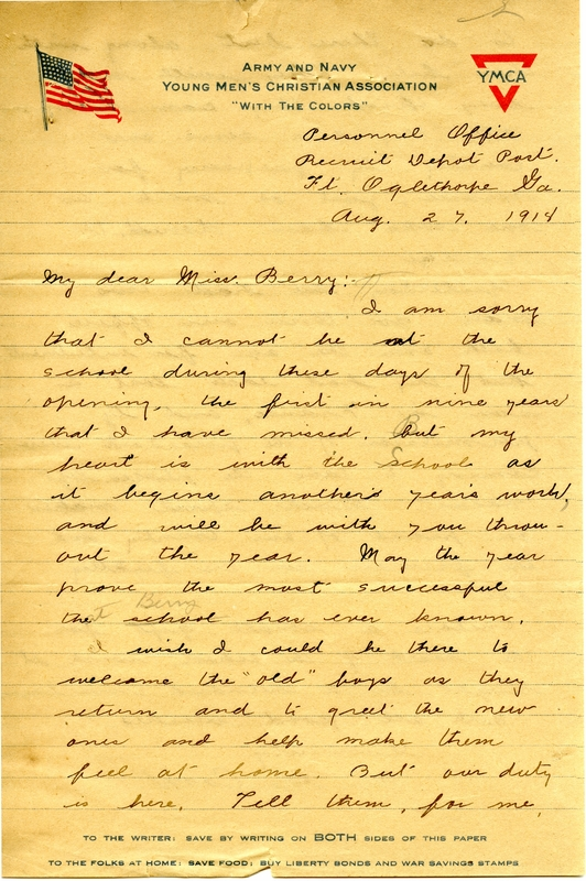 Letter to Martha Berry from S.H. Cook
